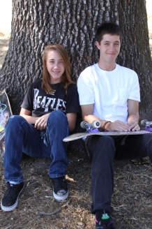 Shane and Max with skateboards